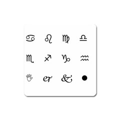Set Of Black Web Dings On White Background Abstract Symbols Square Magnet