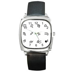 Set Of Black Web Dings On White Background Abstract Symbols Square Metal Watch