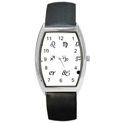 Set Of Black Web Dings On White Background Abstract Symbols Barrel Style Metal Watch