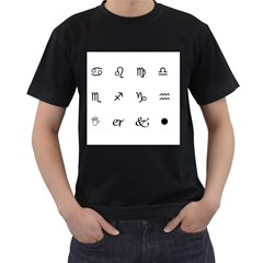 Set Of Black Web Dings On White Background Abstract Symbols Men s T-Shirt (Black) (Two Sided)