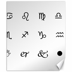 Set Of Black Web Dings On White Background Abstract Symbols Canvas 8  X 10