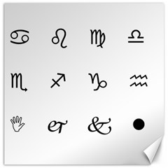 Set Of Black Web Dings On White Background Abstract Symbols Canvas 20  X 20