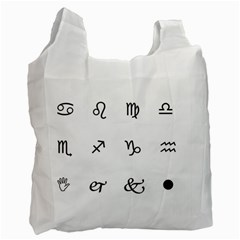 Set Of Black Web Dings On White Background Abstract Symbols Recycle Bag (one Side)