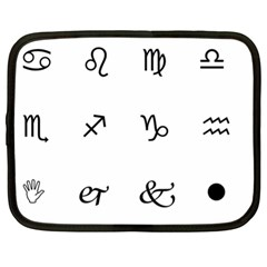 Set Of Black Web Dings On White Background Abstract Symbols Netbook Case (XL)