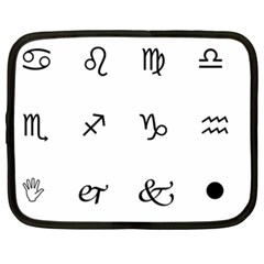 Set Of Black Web Dings On White Background Abstract Symbols Netbook Case (xxl)