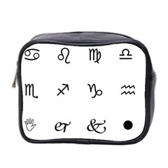 Set Of Black Web Dings On White Background Abstract Symbols Mini Toiletries Bag 2 Side