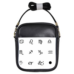 Set Of Black Web Dings On White Background Abstract Symbols Girls Sling Bags