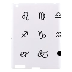 Set Of Black Web Dings On White Background Abstract Symbols Apple Ipad 3/4 Hardshell Case
