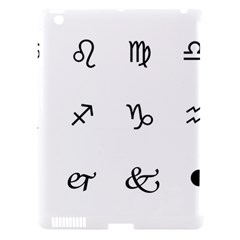 Set Of Black Web Dings On White Background Abstract Symbols Apple Ipad 3/4 Hardshell Case (compatible With Smart Cover)