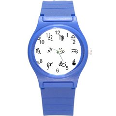 Set Of Black Web Dings On White Background Abstract Symbols Round Plastic Sport Watch (s)
