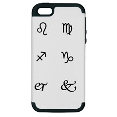 Set Of Black Web Dings On White Background Abstract Symbols Apple iPhone 5 Hardshell Case (PC+Silicone)