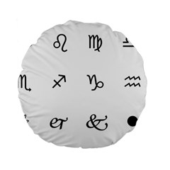 Set Of Black Web Dings On White Background Abstract Symbols Standard 15  Premium Round Cushions