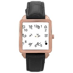 Set Of Black Web Dings On White Background Abstract Symbols Rose Gold Leather Watch