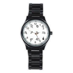 Set Of Black Web Dings On White Background Abstract Symbols Stainless Steel Round Watch