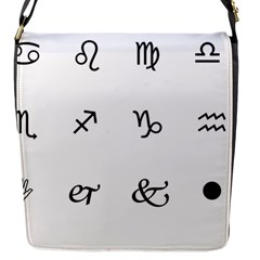 Set Of Black Web Dings On White Background Abstract Symbols Flap Messenger Bag (s)