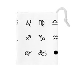 Set Of Black Web Dings On White Background Abstract Symbols Drawstring Pouches (large)