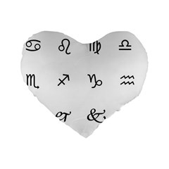 Set Of Black Web Dings On White Background Abstract Symbols Standard 16  Premium Flano Heart Shape Cushions