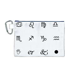 Set Of Black Web Dings On White Background Abstract Symbols Canvas Cosmetic Bag (m)
