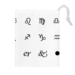 Set Of Black Web Dings On White Background Abstract Symbols Drawstring Pouches (extra Large)
