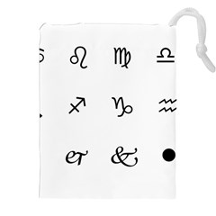 Set Of Black Web Dings On White Background Abstract Symbols Drawstring Pouches (xxl)