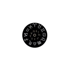 Astrology Chart With Signs And Symbols From The Zodiac Gold Colors 1  Mini Buttons
