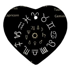 Astrology Chart With Signs And Symbols From The Zodiac Gold Colors Ornament (heart)