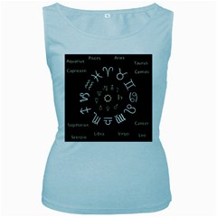 Astrology Chart With Signs And Symbols From The Zodiac Gold Colors Women s Baby Blue Tank Top