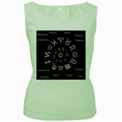Astrology Chart With Signs And Symbols From The Zodiac Gold Colors Women s Green Tank Top