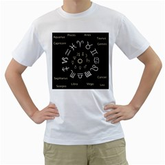 Astrology Chart With Signs And Symbols From The Zodiac Gold Colors Men s T Shirt (white) (two Sided)