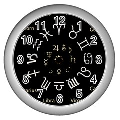 Astrology Chart With Signs And Symbols From The Zodiac Gold Colors Wall Clocks (silver)
