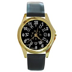 Astrology Chart With Signs And Symbols From The Zodiac Gold Colors Round Gold Metal Watch