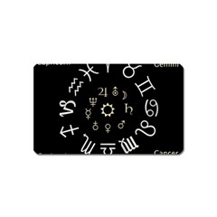 Astrology Chart With Signs And Symbols From The Zodiac Gold Colors Magnet (name Card)