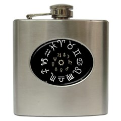 Astrology Chart With Signs And Symbols From The Zodiac Gold Colors Hip Flask (6 Oz)