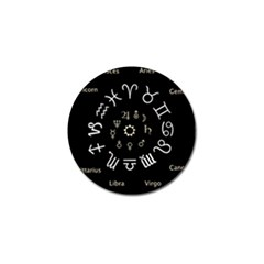 Astrology Chart With Signs And Symbols From The Zodiac Gold Colors Golf Ball Marker (4 Pack)