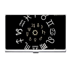 Astrology Chart With Signs And Symbols From The Zodiac Gold Colors Business Card Holders