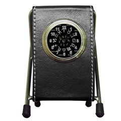 Astrology Chart With Signs And Symbols From The Zodiac Gold Colors Pen Holder Desk Clocks