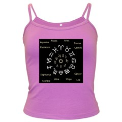 Astrology Chart With Signs And Symbols From The Zodiac Gold Colors Dark Spaghetti Tank