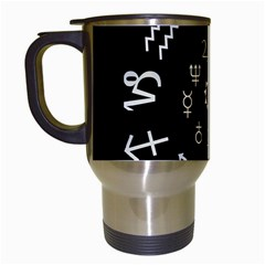 Astrology Chart With Signs And Symbols From The Zodiac Gold Colors Travel Mugs (white)