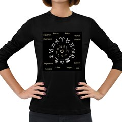 Astrology Chart With Signs And Symbols From The Zodiac Gold Colors Women s Long Sleeve Dark T Shirts