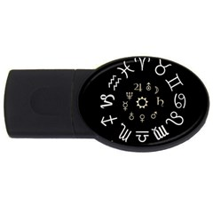 Astrology Chart With Signs And Symbols From The Zodiac Gold Colors Usb Flash Drive Oval (4 Gb)