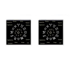 Astrology Chart With Signs And Symbols From The Zodiac Gold Colors Cufflinks (square)