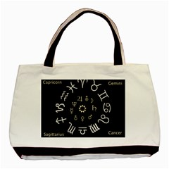 Astrology Chart With Signs And Symbols From The Zodiac Gold Colors Basic Tote Bag