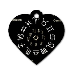 Astrology Chart With Signs And Symbols From The Zodiac Gold Colors Dog Tag Heart (two Sides)
