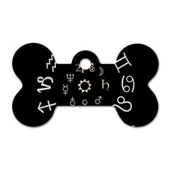 Astrology Chart With Signs And Symbols From The Zodiac Gold Colors Dog Tag Bone (two Sides)