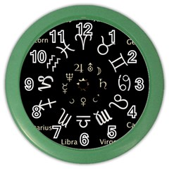 Astrology Chart With Signs And Symbols From The Zodiac Gold Colors Color Wall Clocks