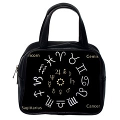 Astrology Chart With Signs And Symbols From The Zodiac Gold Colors Classic Handbags (One Side)