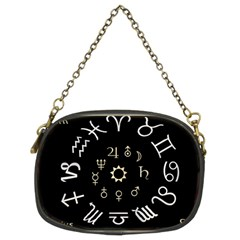 Astrology Chart With Signs And Symbols From The Zodiac Gold Colors Chain Purses (two Sides)