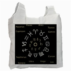 Astrology Chart With Signs And Symbols From The Zodiac Gold Colors Recycle Bag (two Side)