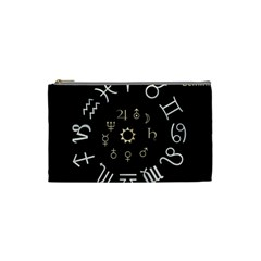 Astrology Chart With Signs And Symbols From The Zodiac Gold Colors Cosmetic Bag (small)
