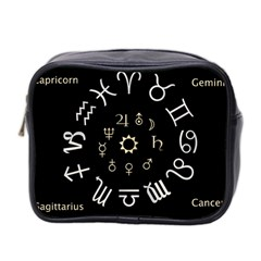 Astrology Chart With Signs And Symbols From The Zodiac Gold Colors Mini Toiletries Bag 2 Side
